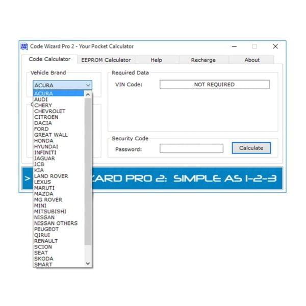 Code Wizard Pro 2 software window