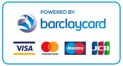 Barclaycard accepted payments badge. VISA, Mastercard, Maestro and JCB.