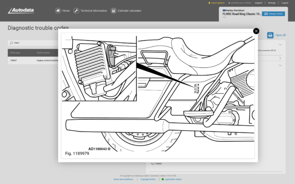 Autodata Motorcycle Screenshot Data Link Connector DLC Locations