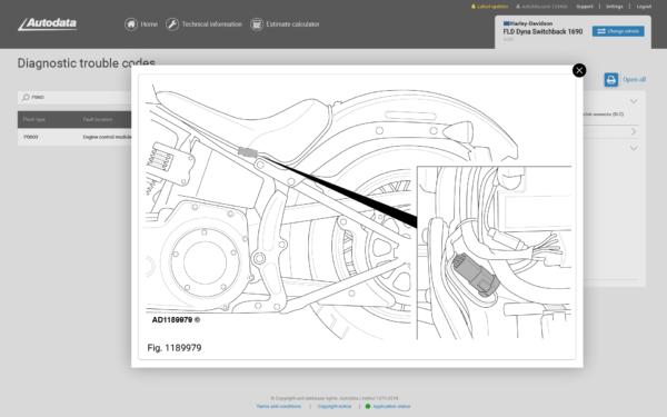 Autodata Motorcycle Screenshot Diagnostic Trouble Codes