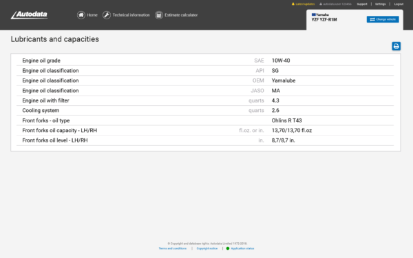 Autodata Motorcycle Screenshot Engine Oil