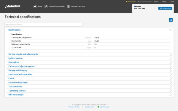 Autodata Motorcycle Screenshot Identification Information