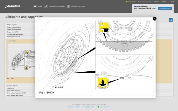 Autodata Motorcycle Screenshot Lubricants and Capacities
