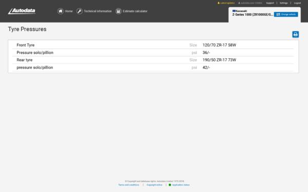 Autodata Motorcycle Screenshot Tyre Pressures