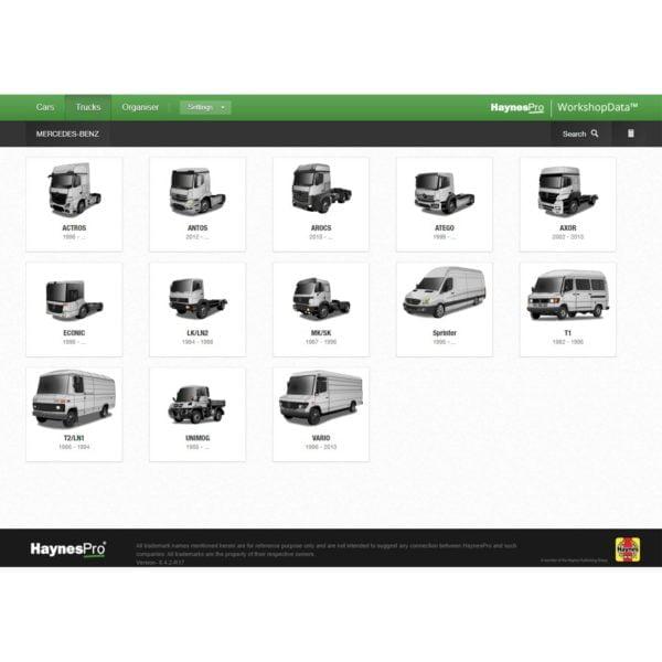 HaynesPro TruckSET model selection