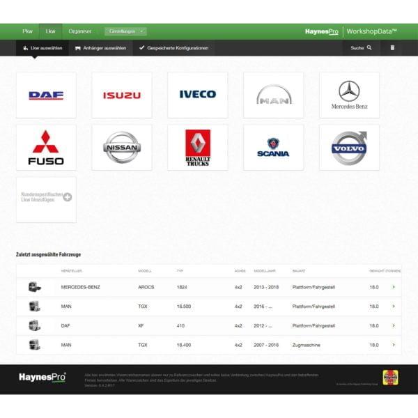 HaynesPro TruckSET vehicle selection