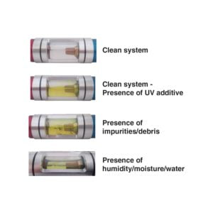 Sight glass showing different impurity tests