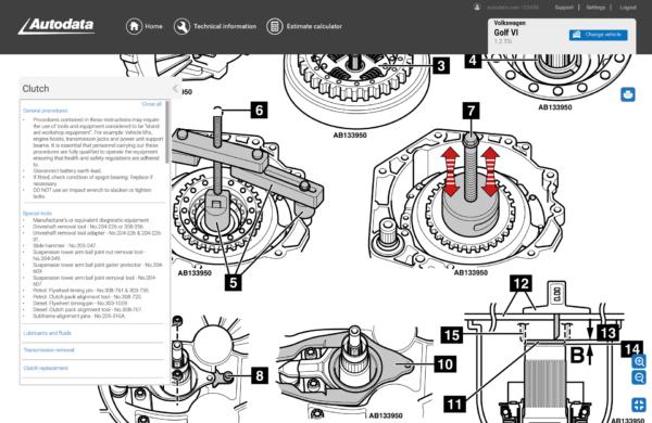 Autodata Car & Van Screenshot Clutch Procedure