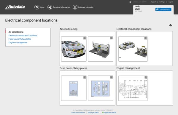 Autodata Car & Van Screenshot Electrical Component Locations