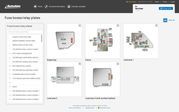 Autodata Car & Van Screenshot Fuses Relays