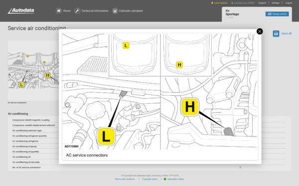 Autodata Car & Van Screenshot Service Air Conditioning