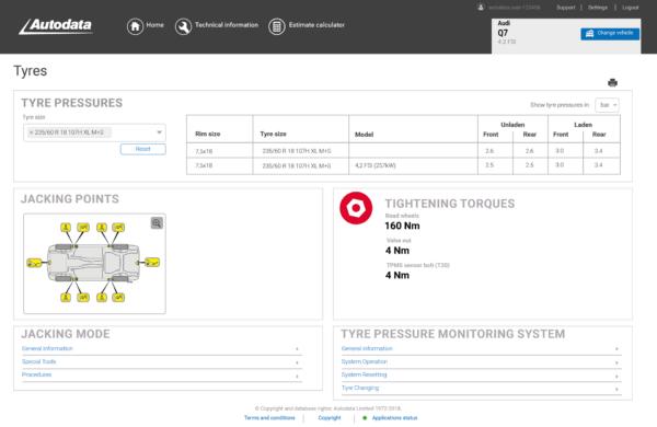 Autodata Car & Van Screenshot Tyres Module